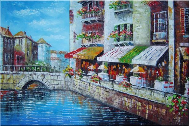 Venice Cafe Along Water Street Oil Painting Italy Naturalism 24 x 36 Inches