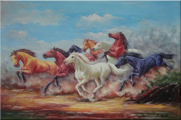 Eight Joyful Wild Horses Running Oil Painting Animal Naturalism 24 x 36 Inches