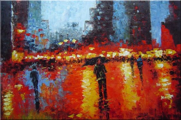 Rainy Night with Tourists in Urban City Square Oil Painting Cityscape Impressionism 24 x 36 Inches