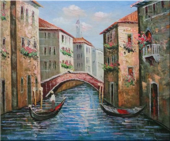 Gondolas in Street of Venice, Italy Oil Painting Naturalism 20 x 24 Inches