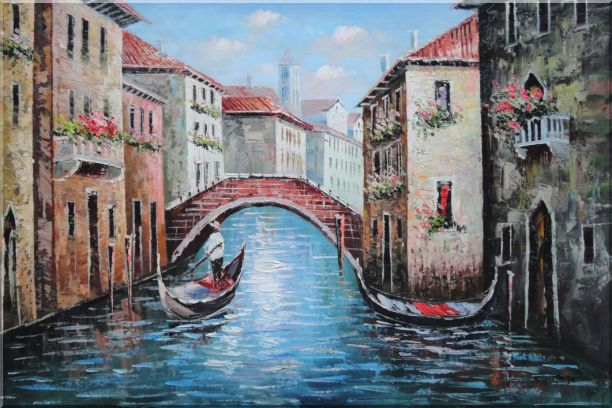 Gondolas in Street of Venice, Italy Oil Painting Naturalism 24 x 36 Inches