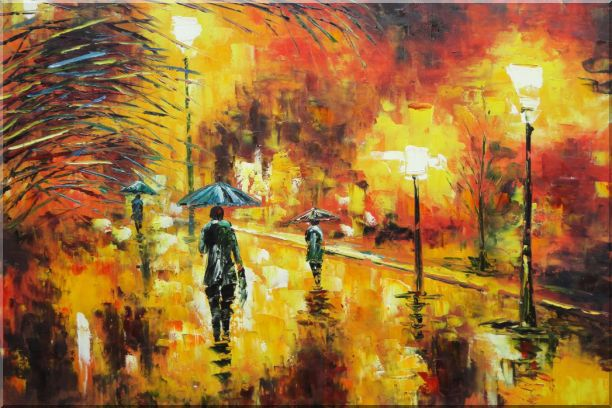 Walking On Rainy Day Street at Night Oil Painting Cityscape Modern 24 x 36 Inches