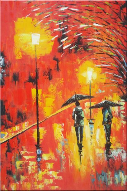 Walking On Rainy Day Street at Night - 2 Canvas Set 2-canvas-set,cityscape modern  36 x 48 inches
