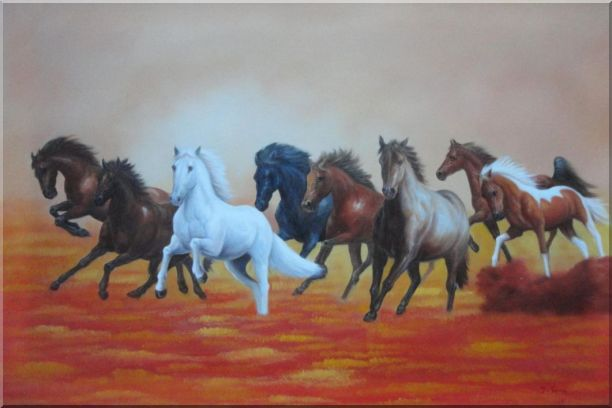Eight Running Horses on Golden Sunset Oil Painting Animal Naturalism 24 x 36 Inches