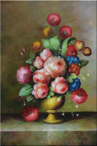 Still Life: Blooming Colorful Flowers in a Vase Oil Painting Bouquet Classic 36 x 24 Inches