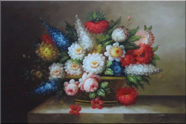 Peony, Tulips, Roses, Delphiniums And Other Colorful Flowers Oil Painting Still Life Bouquet Classic 24 x 36 Inches