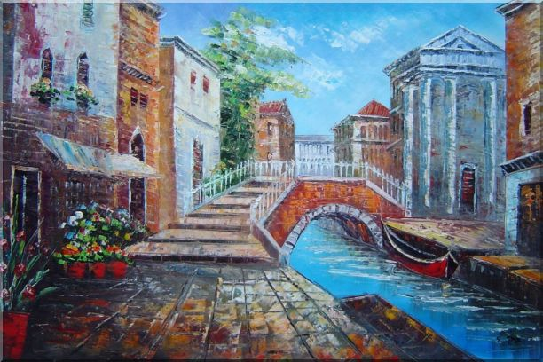 Bridge Across Venice Street Oil Painting Italy Naturalism 24 x 36 Inches