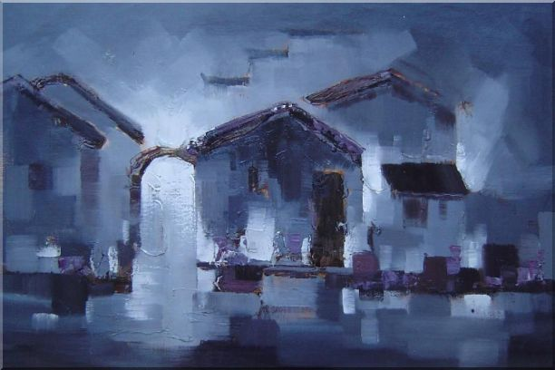 Water Town in Dark Oil Painting Village China Asian 24 x 36 Inches