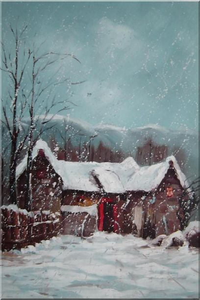 Cottage in Winter White Falling Snow Oil Painting Village Classic 36 x 24 Inches