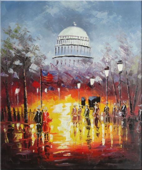 Washington DC at Dusk in Winter Oil Painting Cityscape America Impressionism 24 x 20 Inches