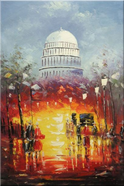 Washington DC at Dusk in Winter Oil Painting Cityscape America Impressionism 36 x 24 Inches