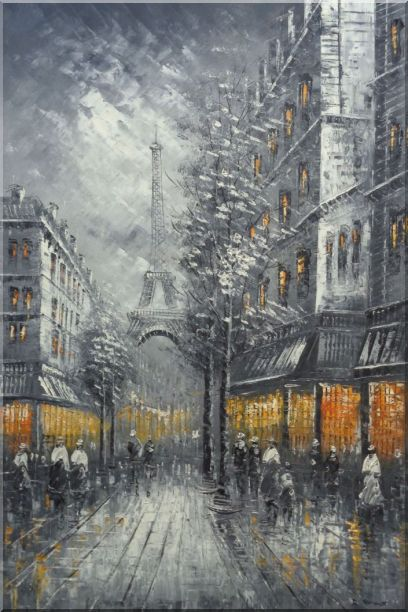 People Stroll On Street Near Tour Eiffel In Black and White with Yellow Light Oil Painting Cityscape France Impressionism 36 x 24 Inches