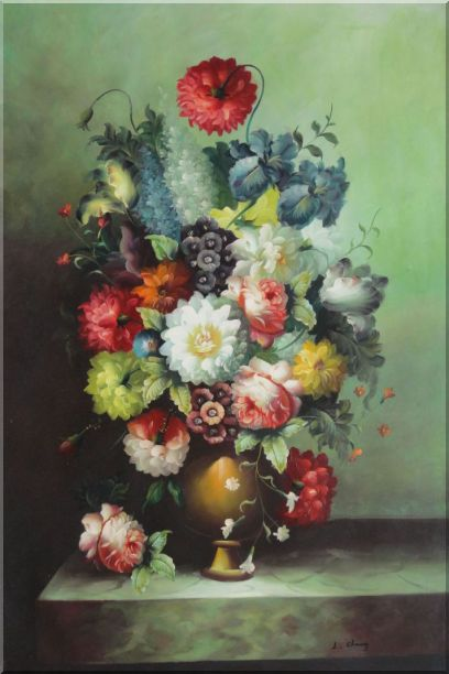 Still Life With Colorful Flowers In Vase Oil Painting Bouquet Classic 36 x 24 Inches
