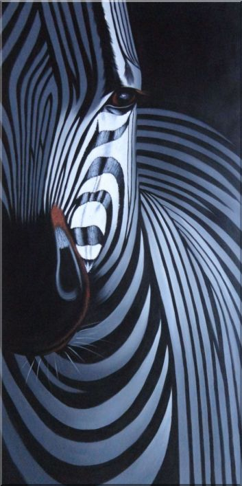 Black and White Zebra II Oil Painting Animal Decorative 48 x 24 Inches