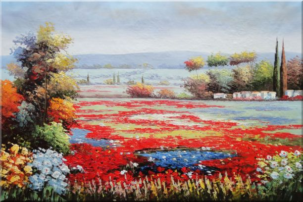 Red And Purple Flower Field in Tuscany of Italy Oil Painting Landscape Naturalism 24 x 36 Inches
