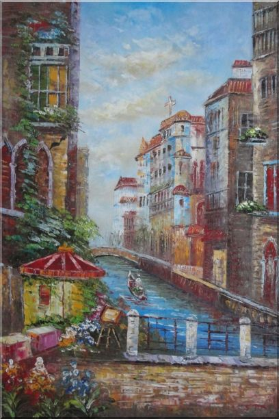 Pleasant Venice Garden And Canal At Noon Oil Painting Italy Impressionism 36 x 24 Inches