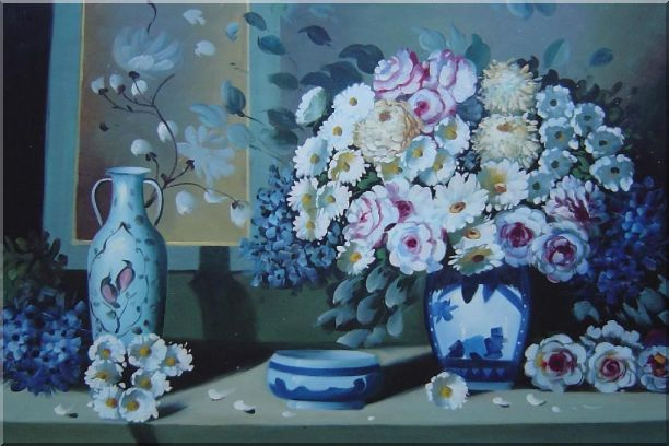 Still Life Ceramic Jug, Ashtray with Flowers in Vase Oil Painting Bouquet Impressionism 24 x 36 Inches