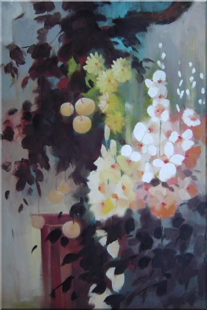 Beautiful Flowers and Pear Tree Oil Painting Still Life Impressionism 36 x 24 Inches