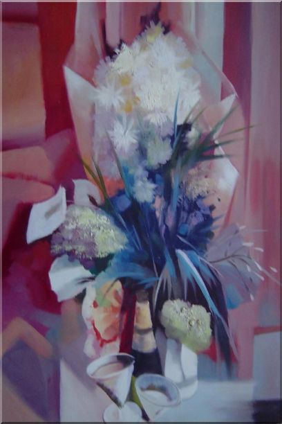 Elegant Bouquet in Pink Background Oil Painting Still Life Flower Impressionism 36 x 24 Inches