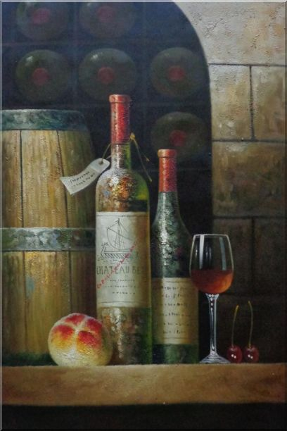 Glass Of Red Wine, Bottles and Fruit on Ledge in Wine Cellar Oil Painting Still Life Classic 36 x 24 Inches