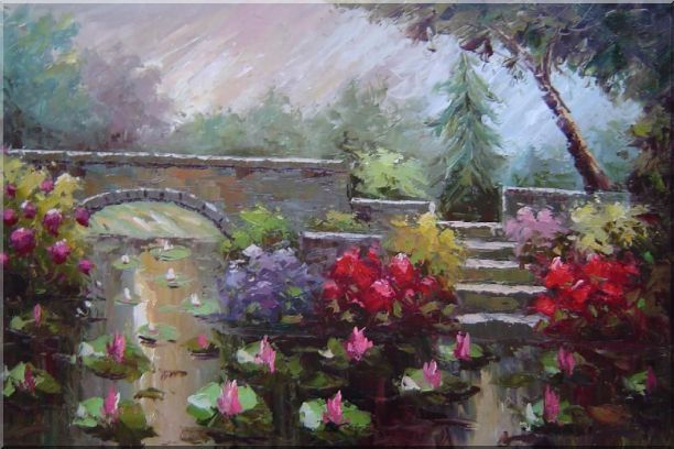 Lotus Pond, Bridge,Steps in a Garden Oil Painting Naturalism 24 x 36 Inches
