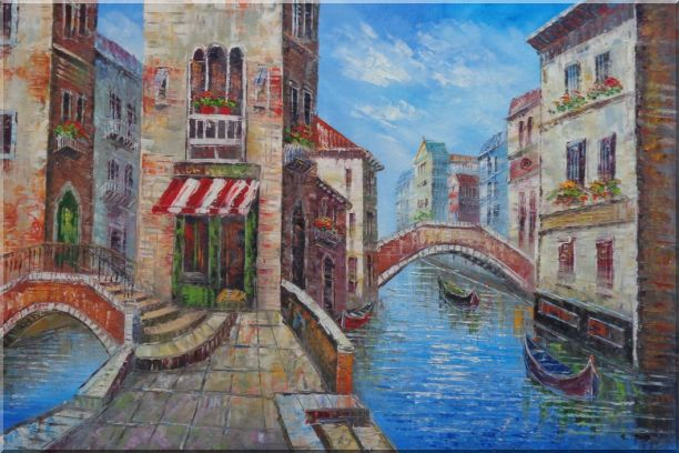Cafeteria Along Two Water Streets with Bridges in Venice Oil Painting Italy Naturalism 24 x 36 Inches
