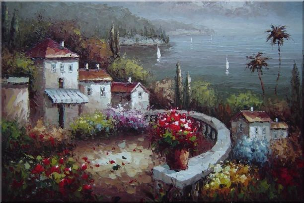 Mediterranean Garden Before Storm Oil Painting Naturalism 24 x 36 Inches