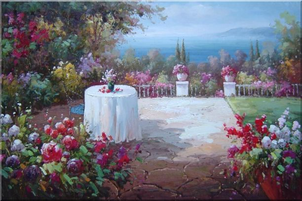 Peaceful Mediterranean Coastal Flower Garden Oil Painting Naturalism 24 x 36 Inches