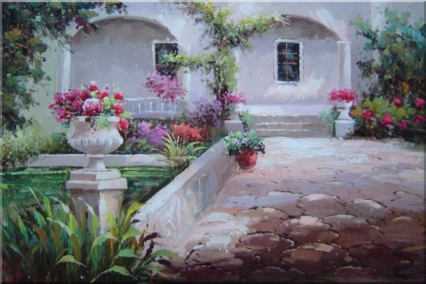 Colorful Garden at Back Yard Oil Painting Naturalism 24 x 36 Inches