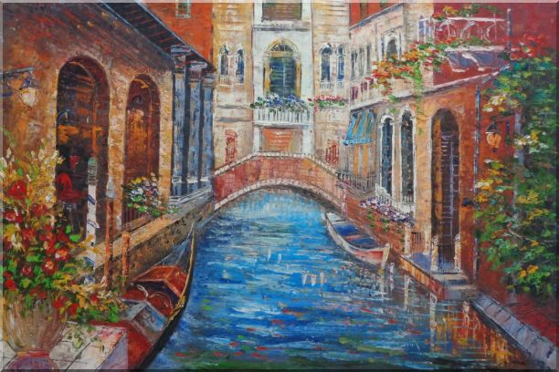 Beautiful Venice Street with Parked Boats And Flower Covered Buildings Oil Painting Italy Naturalism 24 x 36 Inches
