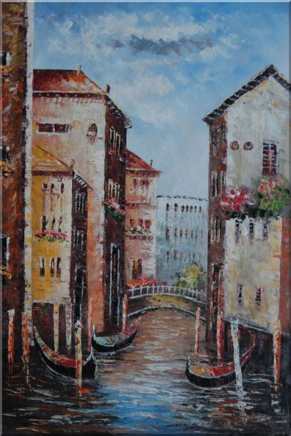 Venice in Afternoon Sunshine Oil Painting Italy Impressionism 36 x 24 Inches