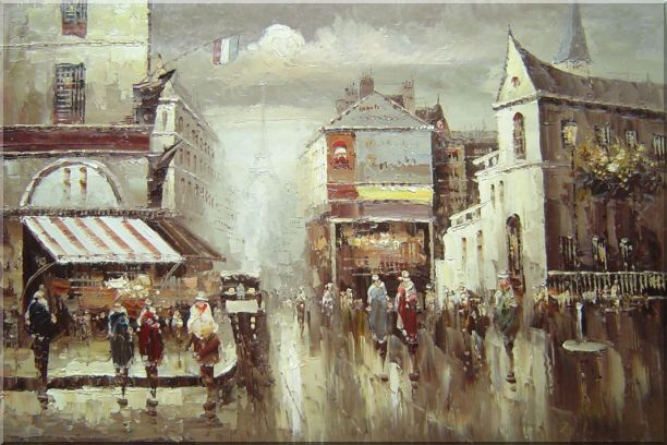 Paris Street in Early 1900 Oil Painting Cityscape France Impressionism 24 x 36 Inches