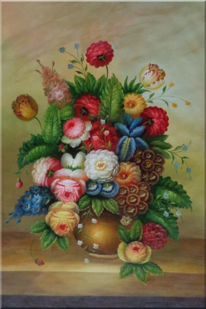 Peony, Tulips And Other Blooming Flowers in a Vase Oil Painting Still Life Bouquet Classic 36 x 24 Inches