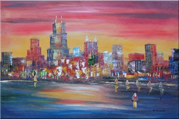 Chicago Skyline Waterfront View Oil Painting Cityscape America Modern 24 x 36 Inches