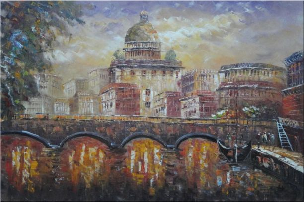 Night View of Bridge over Seine in Paris Oil Painting Cityscape France Impressionism 24 x 36 Inches