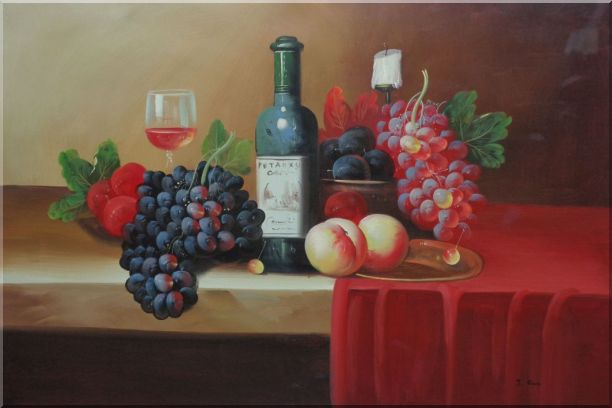 Still Life With Fruit, Glass of Wine, and Fruit Plates Oil Painting Classic 24 x 36 Inches