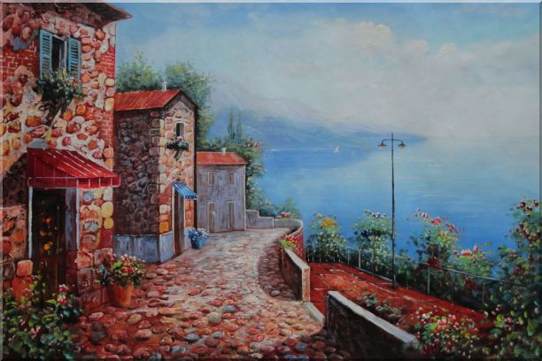 Quite Italy Mediterranean Coast Cafeteria Oil Painting Naturalism 24 x 36 Inches