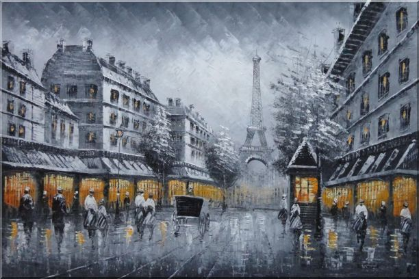 Black and White Paris Street and Eiffel Tower with Yellow Light Oil Painting Cityscape Impressionism 24 x 36 Inches