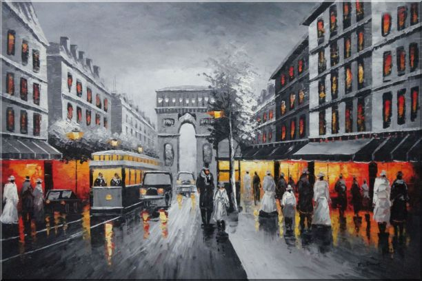Black and White Paris Arc De Triumph Oil Painting Cityscape France Impressionism 24 x 36 Inches