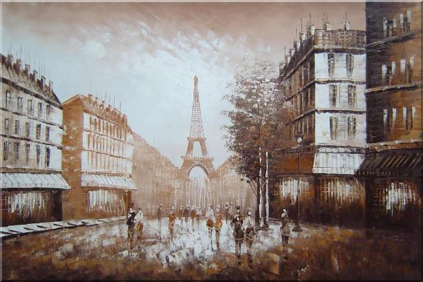 Walking to Eiffel Tower Under Afternoon Sunshine Oil Painting Cityscape France Impressionism 24 x 36 Inches