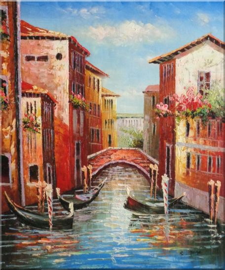 Venice Street On Sunday Oil Painting Italy Impressionism 24 x 20 Inches