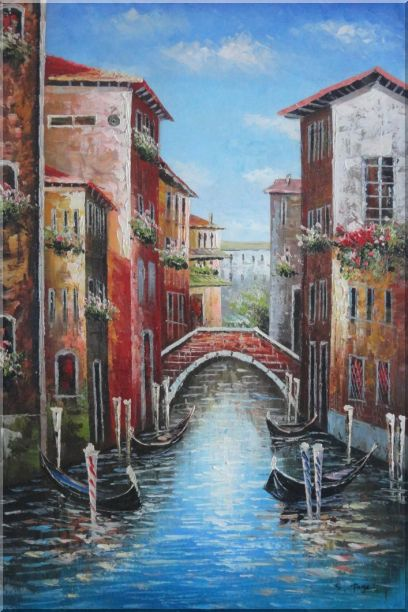 Venice Street On Sunday Oil Painting Italy Impressionism 36 x 24 Inches