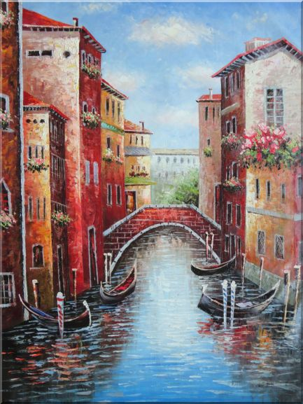 Venice Street On Sunday Oil Painting Italy Impressionism 48 x 36 Inches