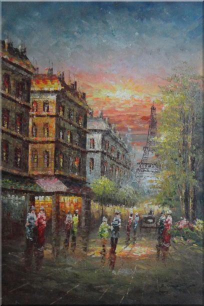 Street Scene Near Paris Eiffel Tower Oil Painting Cityscape France Impressionism 36 x 24 Inches