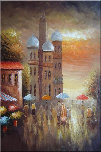 Old Building with Colorful Scenery Oil Painting Cityscape Impressionism 36 x 24 Inches