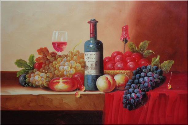 Still Life of Grape, Peaches, Plate and Curtains Oil Painting Fruit Classic 24 x 36 Inches