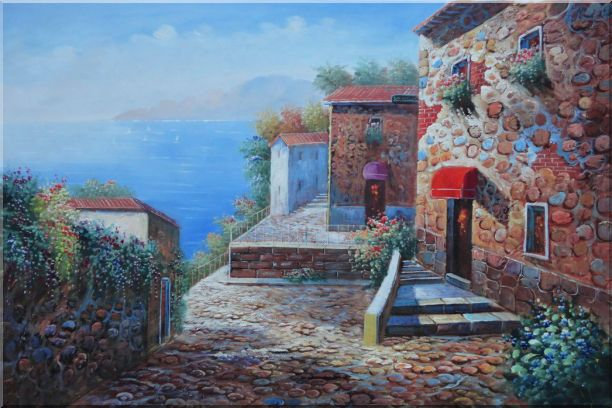Mediterranean Stone Village with Beautiful Flowers Oil Painting Naturalism 24 x 36 Inches