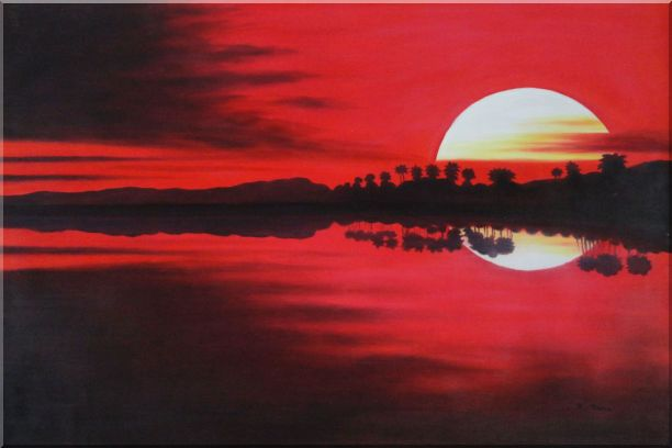 Gorges Red Lake at Sunset Oil Painting Landscape River Naturalism 24 x 36 Inches