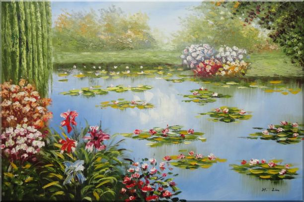 Red Lily Lake Bridge View Oil Painting Flower Naturalism 24 x 36 Inches