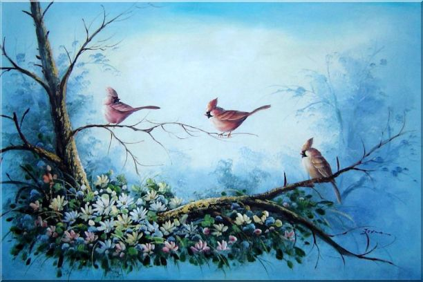 Three Colorful Cardinals Playing on Flower Tree Oil Painting Animal Bird Naturalism 24 x 36 Inches